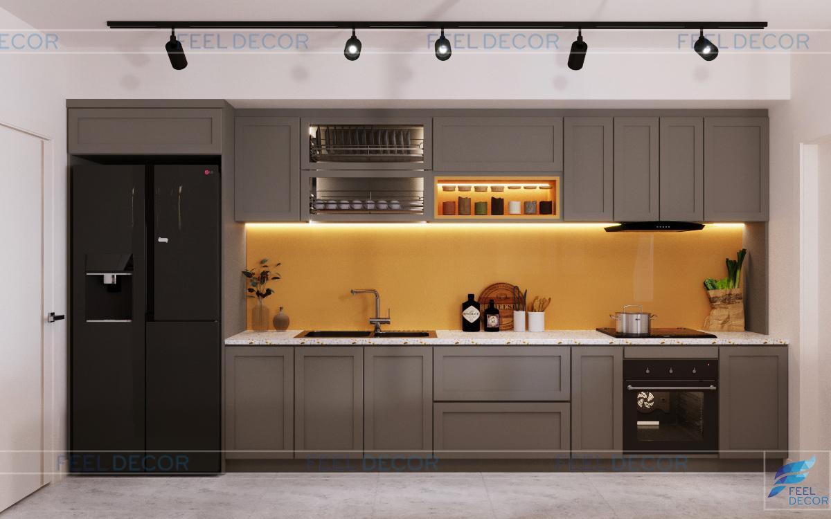 Thiết kế thi công nội thất phòng bếp căn hộ 115m2