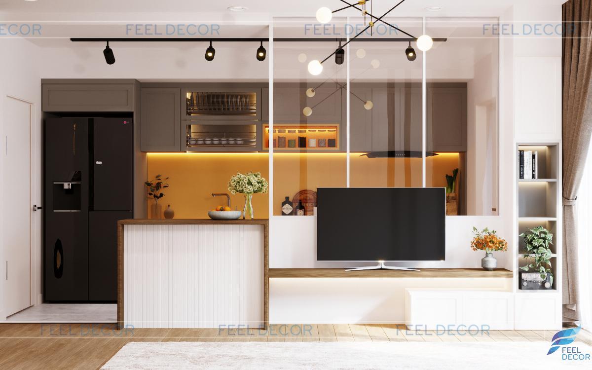Thiết kế thi công nội thất phòng khách căn hộ 115m2
