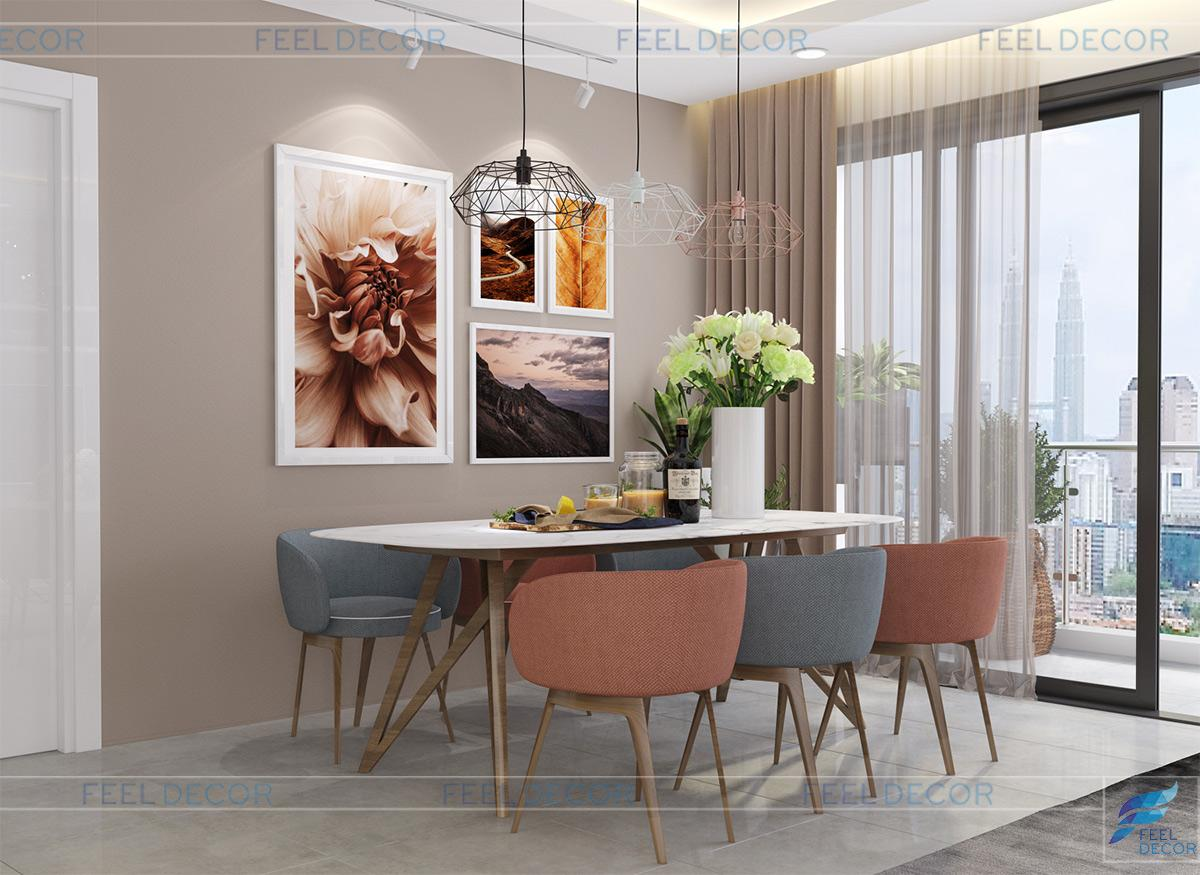 Thiết kế thi công nội thất phòng khách - ăn của căn hộ 85m2
