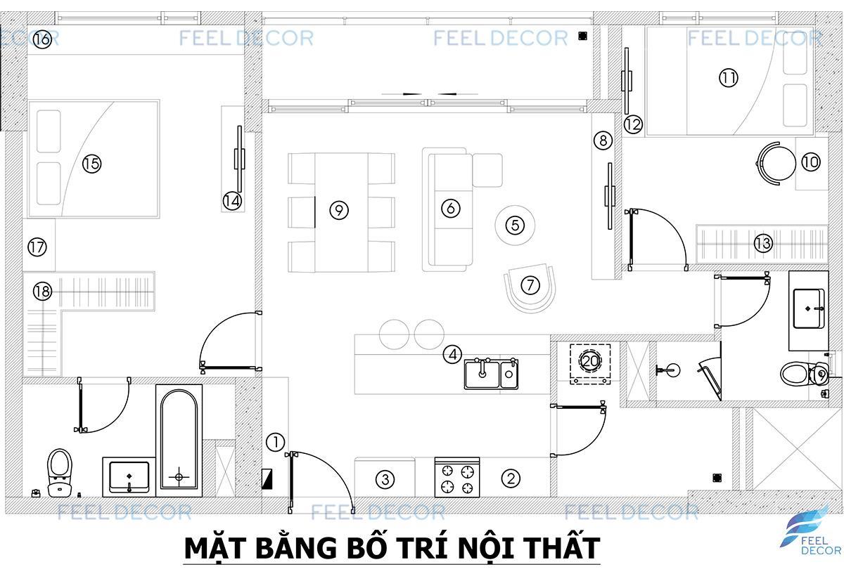 Thiết kế thi công nội thất căn hộ 85m2