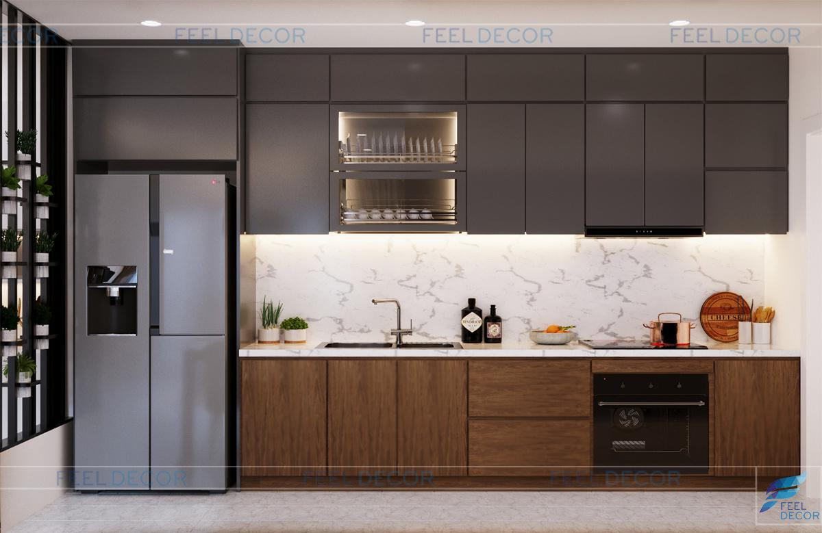 thiết kế nội thất phòng bếp căn hộ 2 phòng ngủ