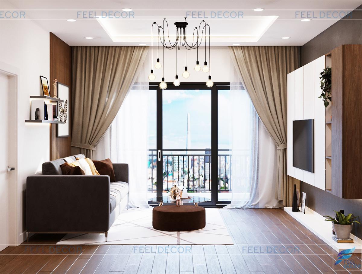 Thiết kế nội thất phòng khách căn hộ 94m2 2 phòng ngủ