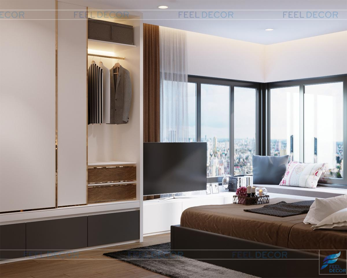 Nội thất phòng ngủ Master căn hộ 94m2 chung cư Diamond Island