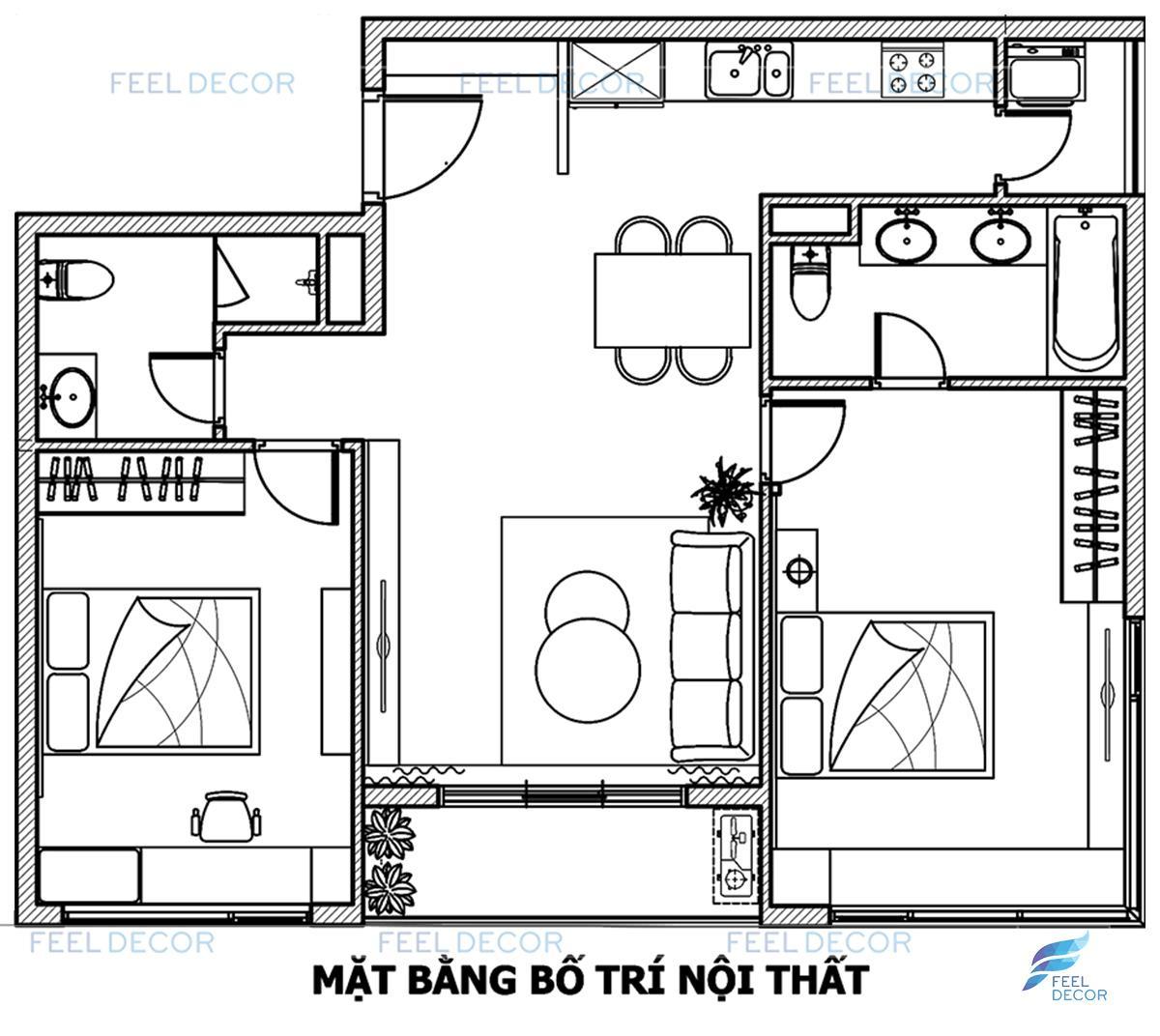 Mặt bằng thiết kế thi công nội thất căn hộ 2 phòng ngủ (94m2) chung cư Diamond Island.