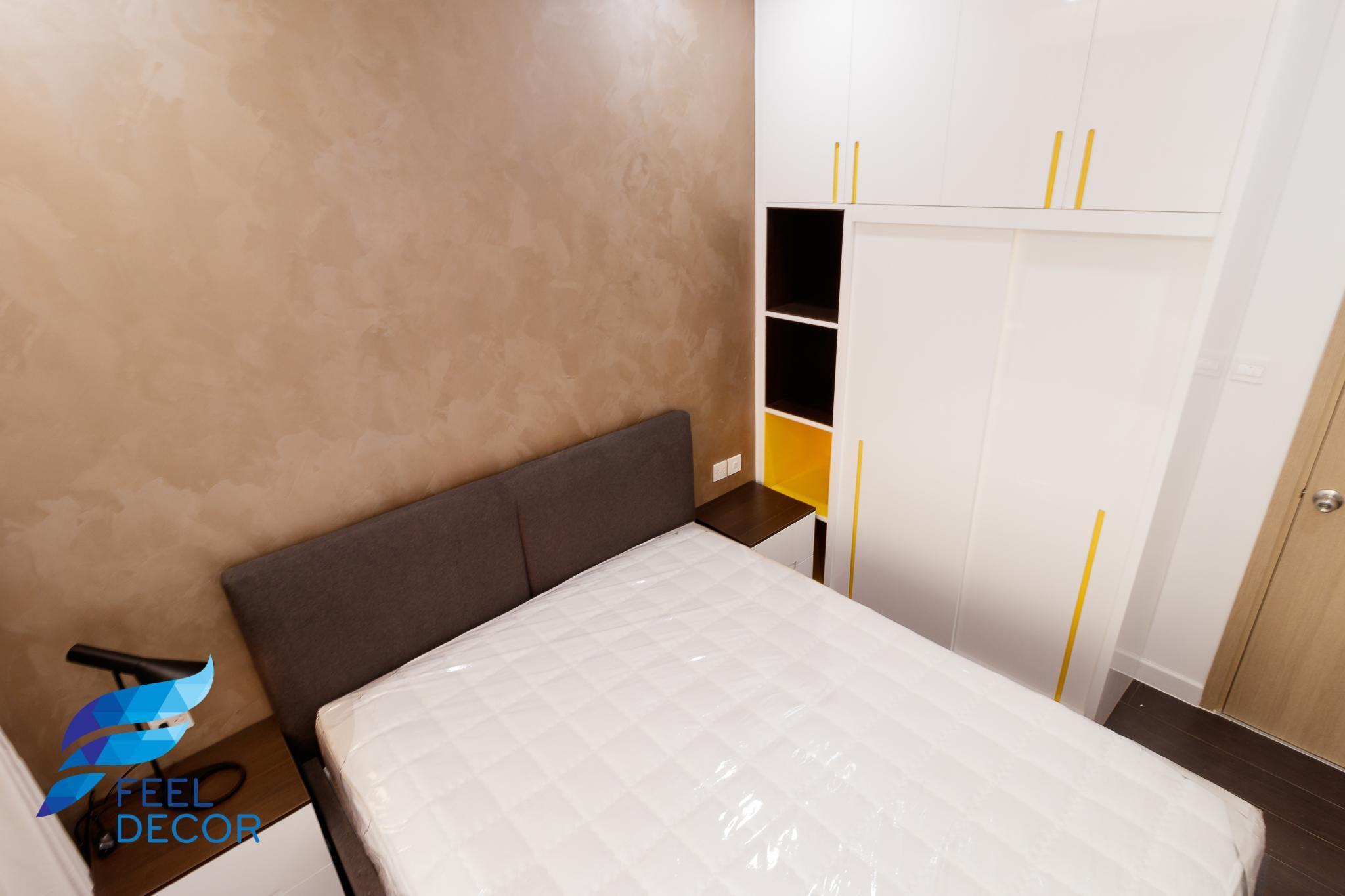 Nội thất phòng ngủ căn hộ The Sun Avenue 79 m2 với 3 phòng ngủ của Novaland