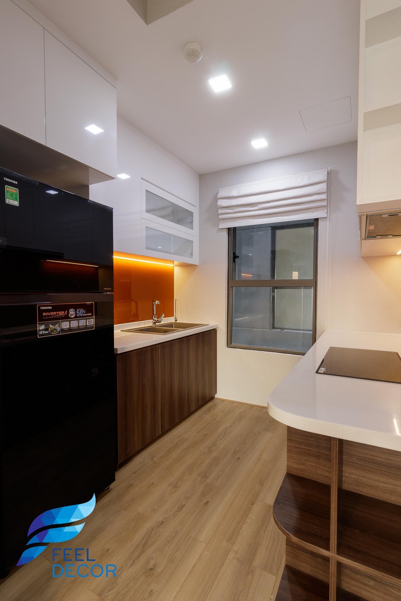 hình ảnh thực tế thiết kế nội thất Khu vực bếp căn hộ 3 phòng ngủ (79m2) CC The Sun Avenue Quận 2