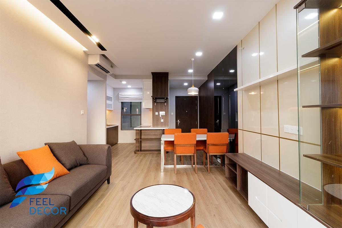 Hình ảnh thực tế thiết kế nội thất căn hộ 79m2 2 phòng ngủ CC The Sun Avenue Quận 2
