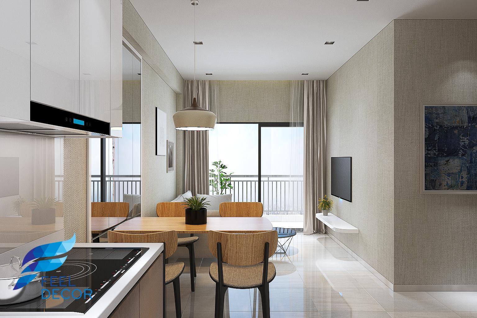 thiết kế thi công nội thất căn hộ 80m2 - 2 phòng ngủ