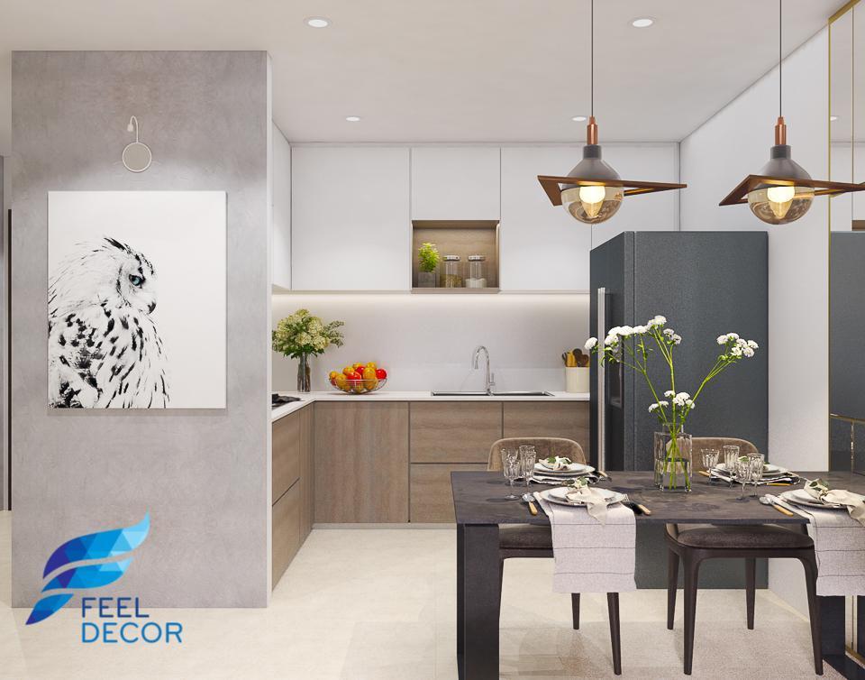 thiết kế thi công nội thất hiện đại căn hộ 2 phòng ngủ