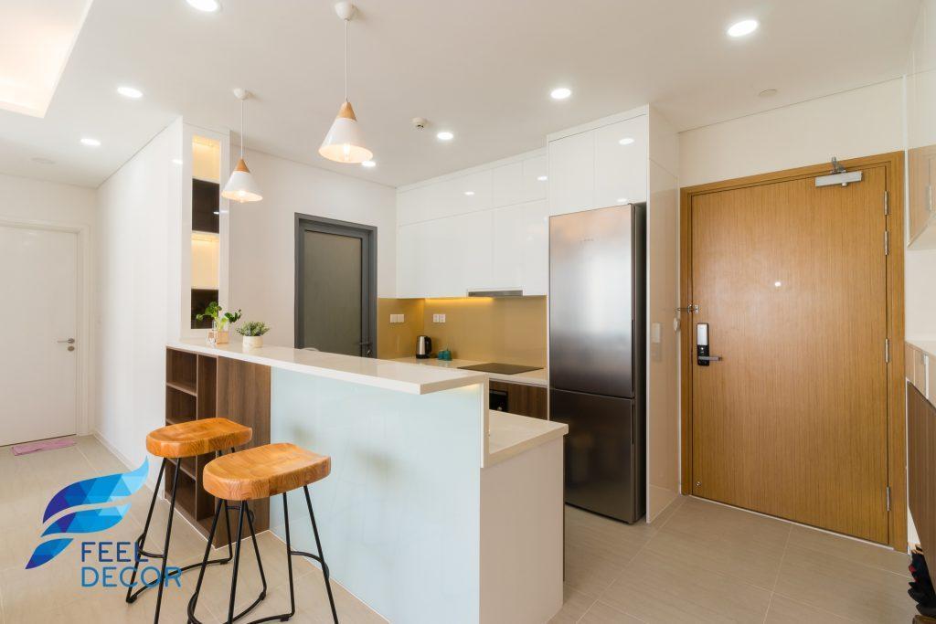Ảnh chụp thực tế không gian nội thất căn hộ 85m2 có 2 phòng ngủ chung cư Đảo Kim Cương