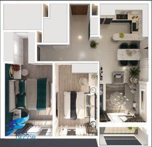 mặt bằng bố trí nội thất căn hộ 2 phòng ngủ 73m2 chung cư Golden Masion