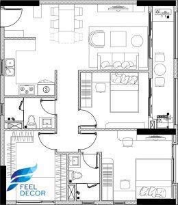 Mặt bằng bố trí nội thất căn hộ 94m2 có 3 phòng ngủ tại chung cư Richstar