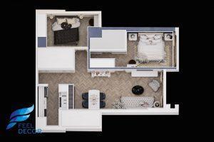 mặt bằng bố trí nội thất căn hộ 85m2 (2 phòng ngủ) chung cư Hà Đô Centrosa Garden