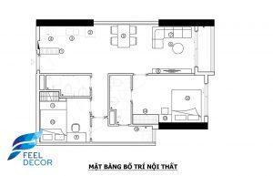 Ảnh mặt bằng bố trí nội thất căn hộ 69m2 (2 phòng ngủ) chung cư The PegaSuite
