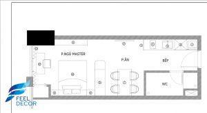 Hình ảnh: Mặt bằng bố trí nội thất căn hộ Officetel 29m2 chung cư Madison Novaland