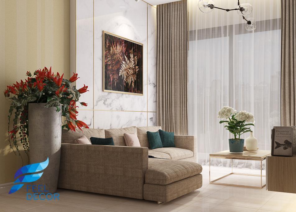 Hình ảnh: Thiết kế thi công nội thất căn hộ 69m2 (2 phòng ngủ) chung cư The PegaSuite