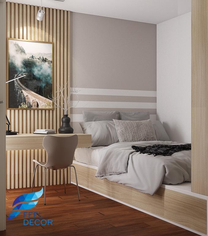 Thiết kế thi công nội thất căn hộ 69m2 (2 phòng ngủ) chung cư The PegaSuite