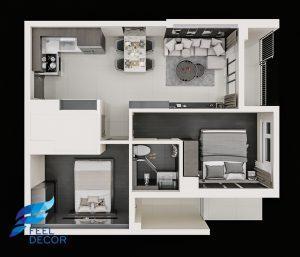 Hình ảnh Thiết kế nội thất căn hộ 73m2 chung cư golden mansion