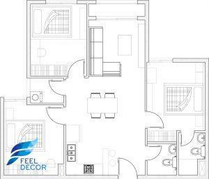 Hình ảnh Thiết kế nội thất căn hộ 79m2 (3 phòng ngủ) chung cư Hà Đô Centrosa Garden