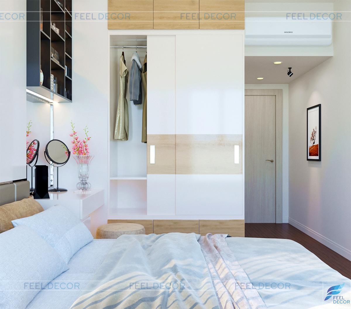 Thiết kế nội thất căn hộ 69m2 2 phòng ngủ chung cư Golden Mansion đẹp