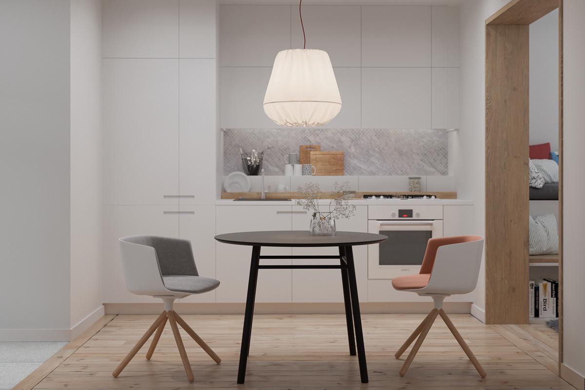 Mẫu thiết kế nội thất căn hộ 50m2 ấn tượng