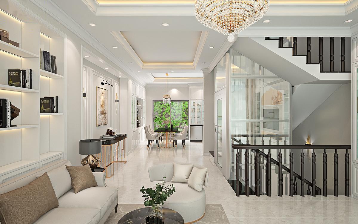 Thiết kế nội thất bán cổ điển đẹp cho nhà ống