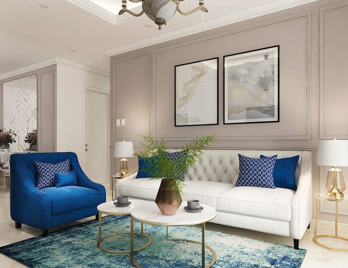 Thiết kế nội thất bán cổ điển kết hợp phong cách tối giản