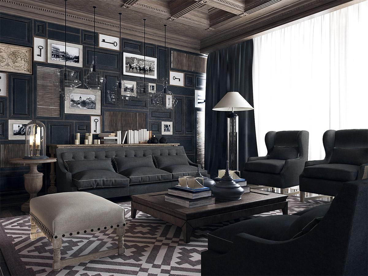 Thiết kế nội thất đẹp với bộ ghế sofa màu đen