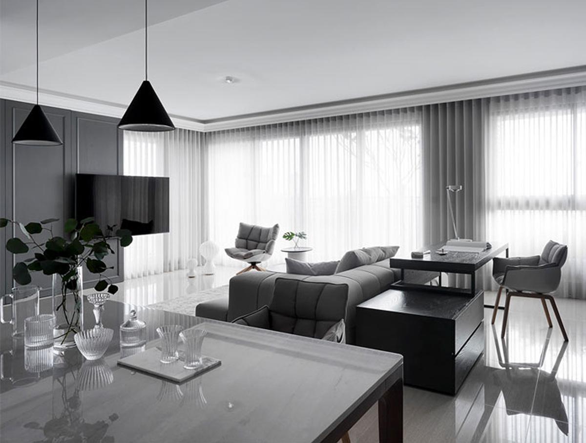 Thiết kế nội thất phòng khách hiện đại chung cư 65m2