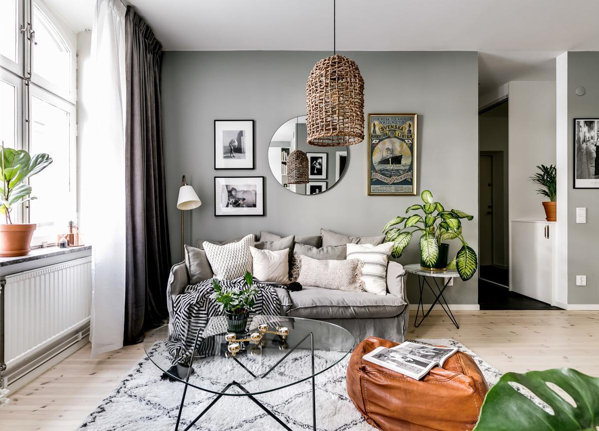 Phòng khách với gam màu trắng