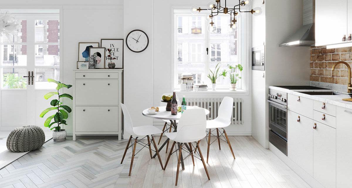 không gian bếp màu trắng