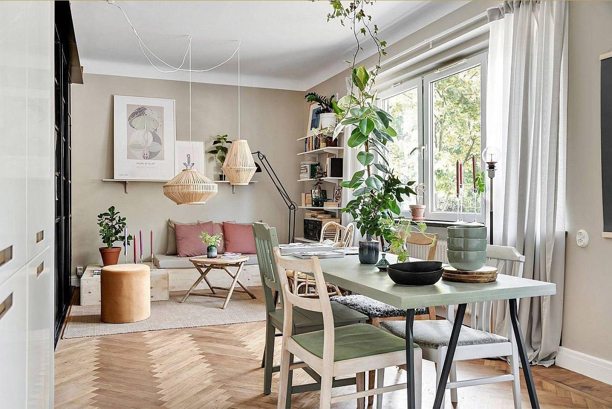 phong cách Scandinavi với tone màu xanh lá