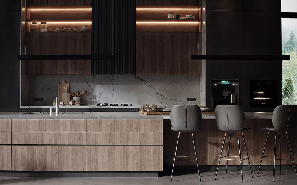 thiết kế nội thất phòng bếp đơn giản