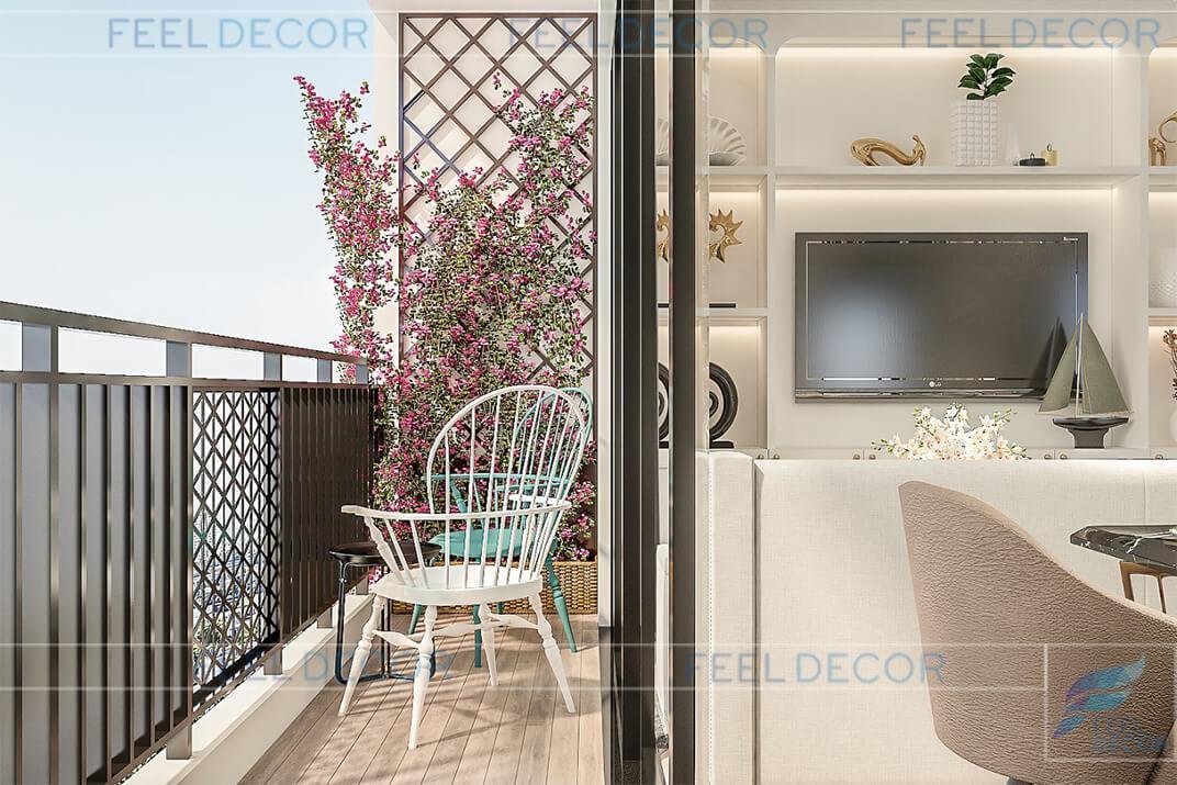 Hình ảnh 3D logia nội thất căn hộ 95m2 chung cư Masteri An Phú