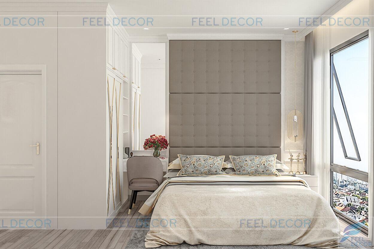 Hình ảnh 3D nội thất phòng ngủ căn hộ 95m2 chung cư Masteri An Phú