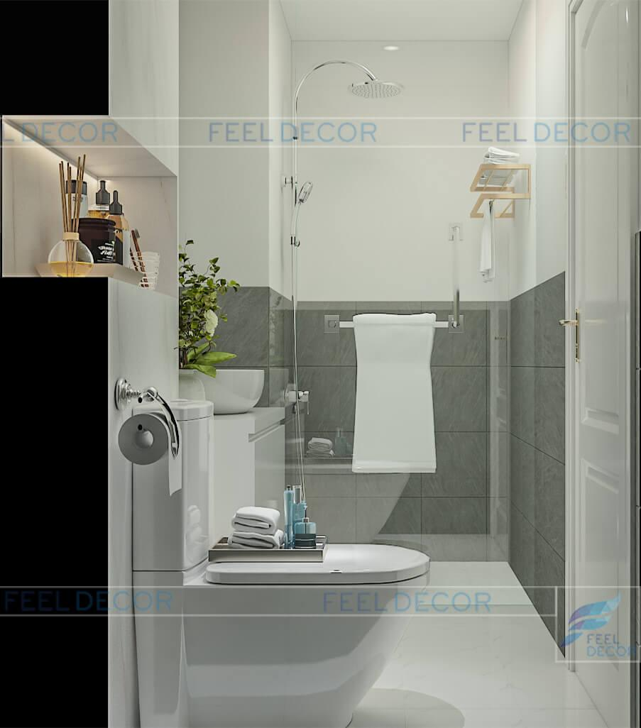 Hình ảnh 3D nội thất phòng vệ sinh căn hộ 95m2 chung cư Masteri An Phú