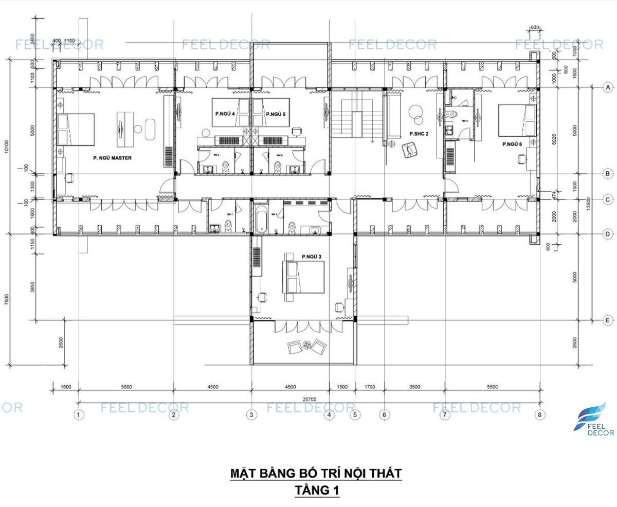 Hình ảnh 3D nội thất biệt thự Tiền Giang