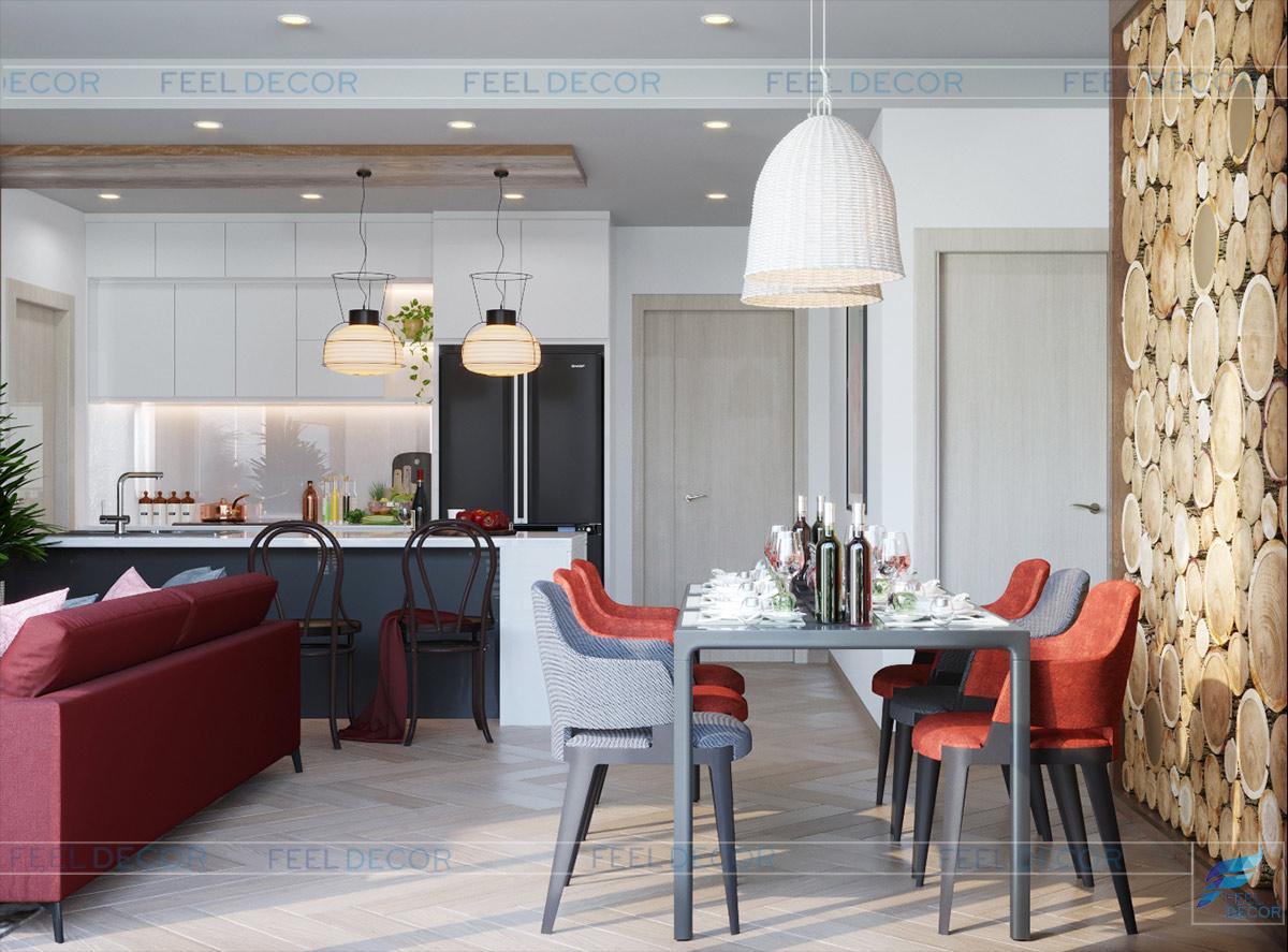 Hình ảnh 3D phòng bếp căn hộ 106m2 3 phòng ngủ chung cư Masteri An Phú