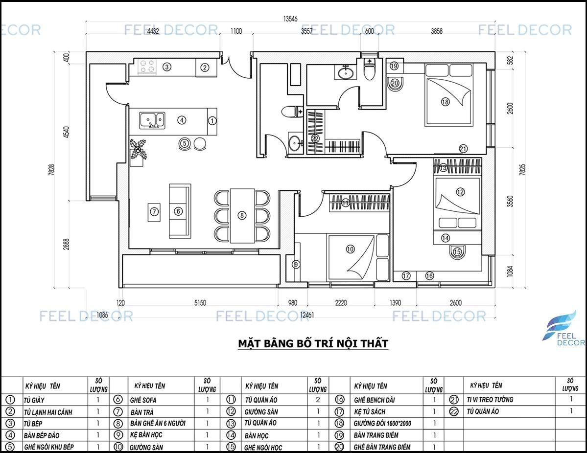 Hình ảnh 3D căn hộ 106m2 3 phòng ngủ chung cư Masteri An Phú