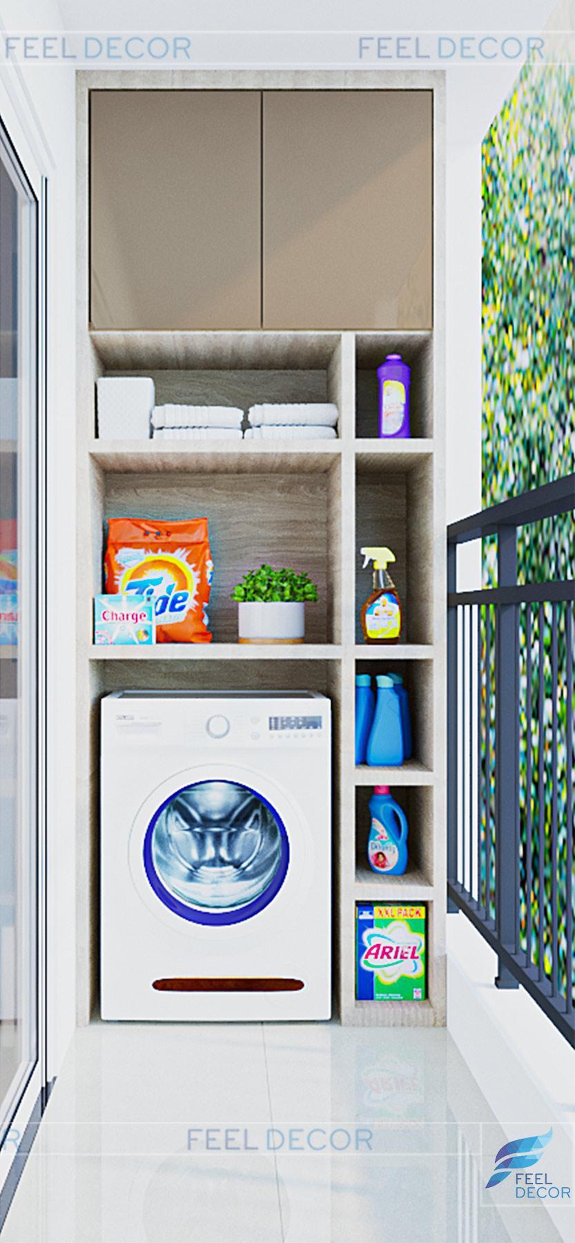 Thiết kế nơi giặt giũ tiện lợi, các vật dụng được sắp xếp ngăn nắp.