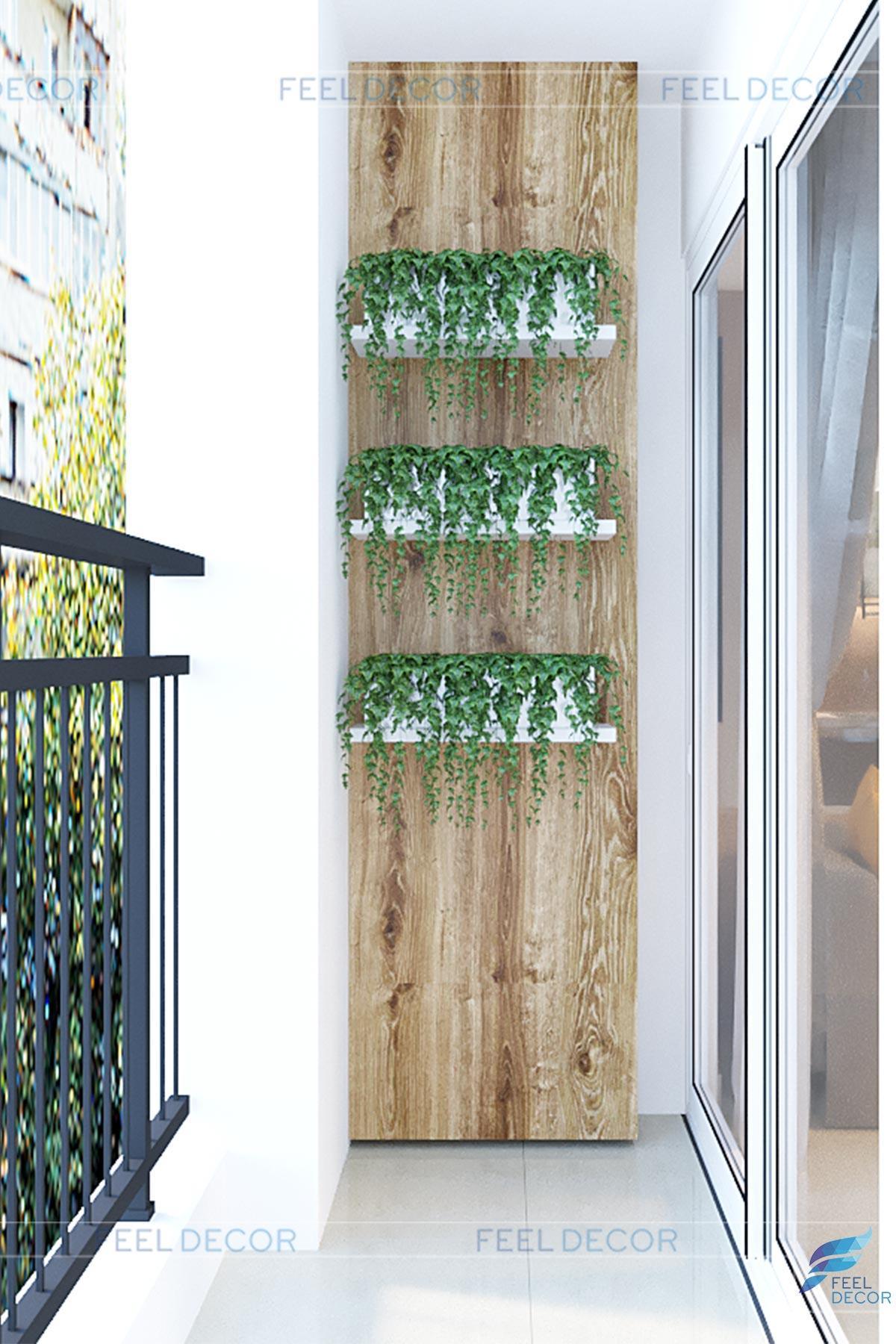 Chậu cây xanh vừa đẹp mắt vừa mang không gian tự nhiên vào trong căn hộ.