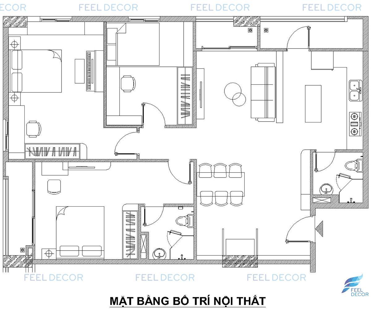 Thiết kế thi công nội thất căn hộ 3 PN chung cư CityLand ParkHill – Chủ đầu tư anh Hiếu