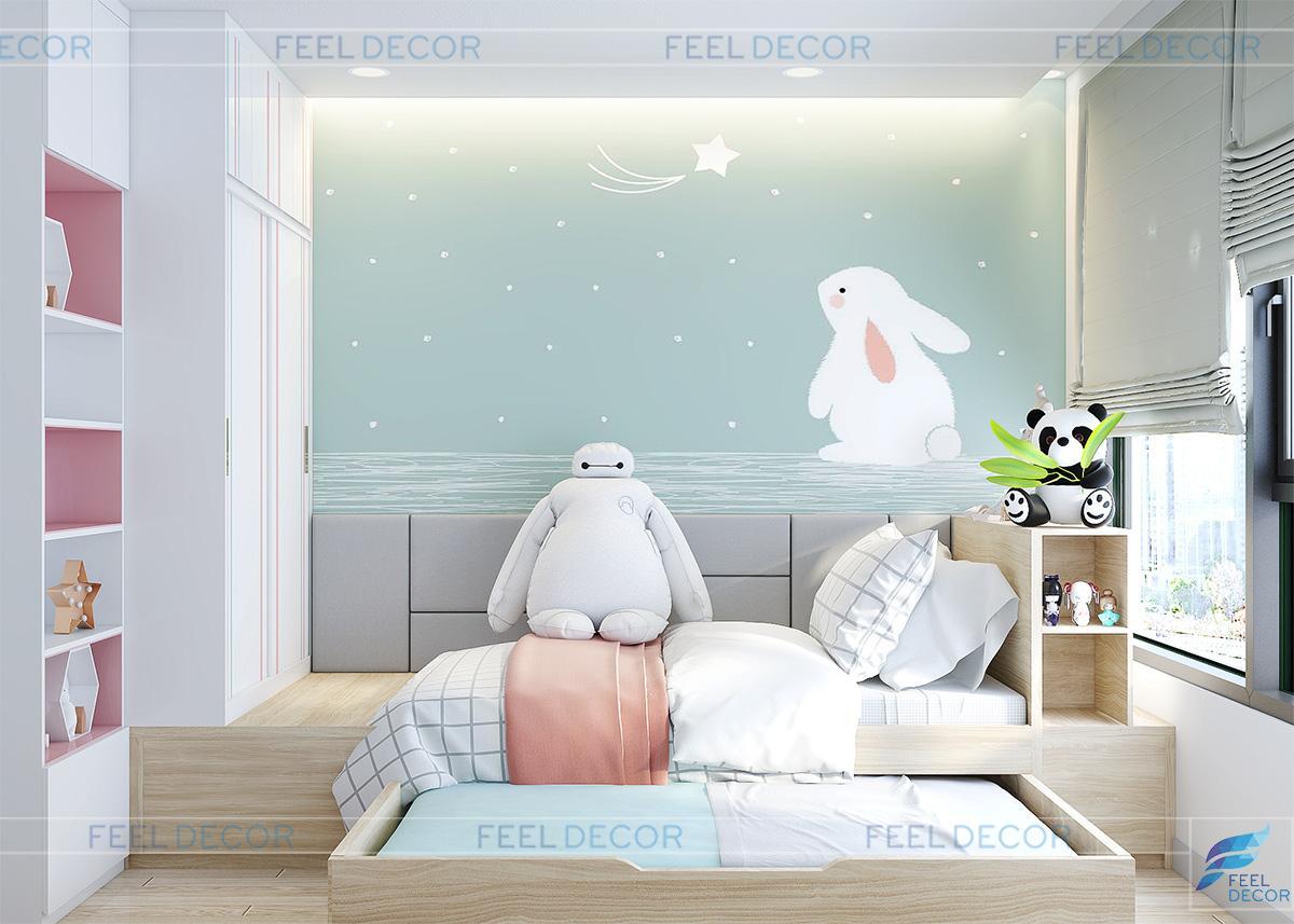 Không gian nội thất phòng ngủ cho 2 cô con gái đáng yêu của chị Trang