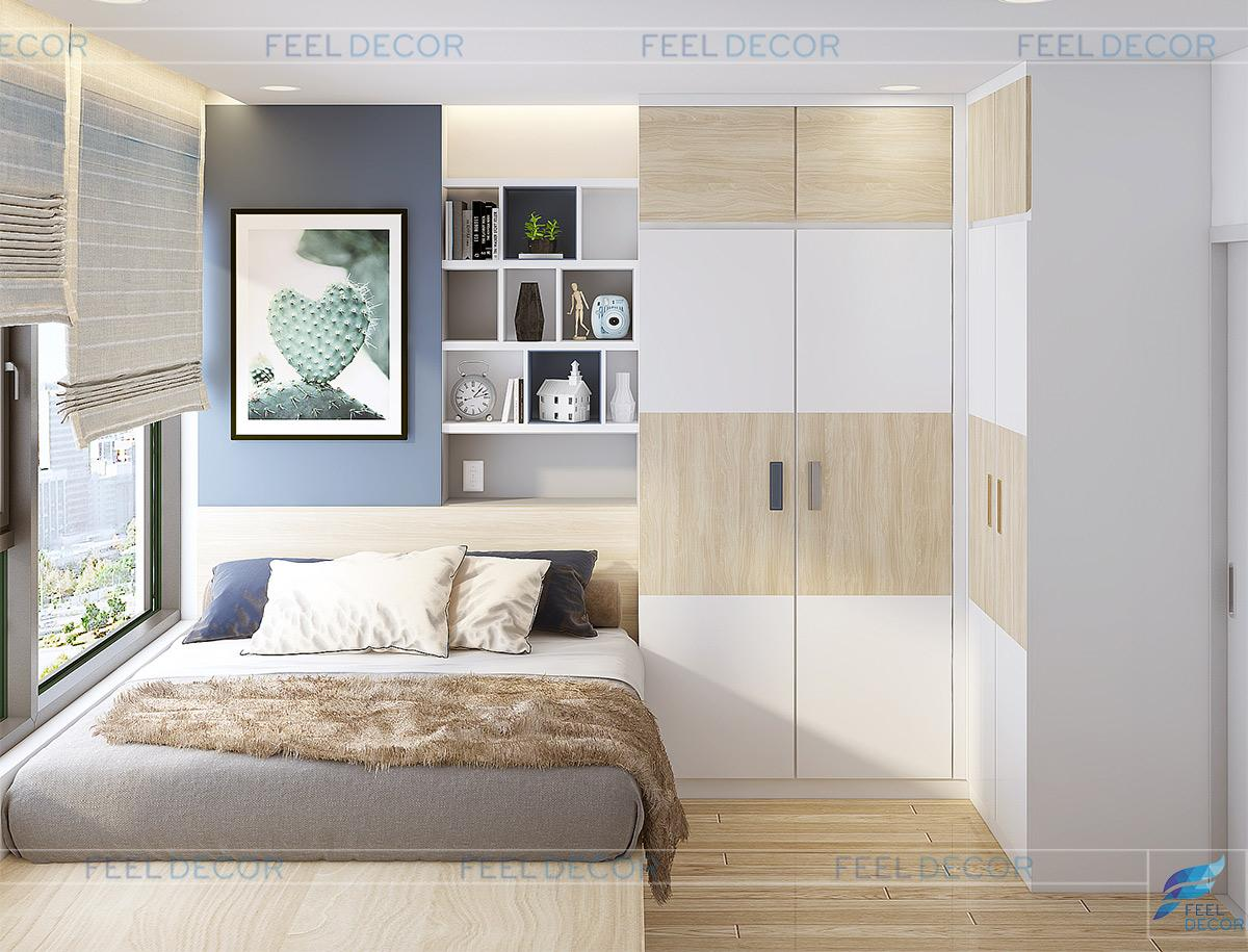 Thiết kế nội thất phòng ngủ Master căn hộ 55m2 đơn giản nổi bật