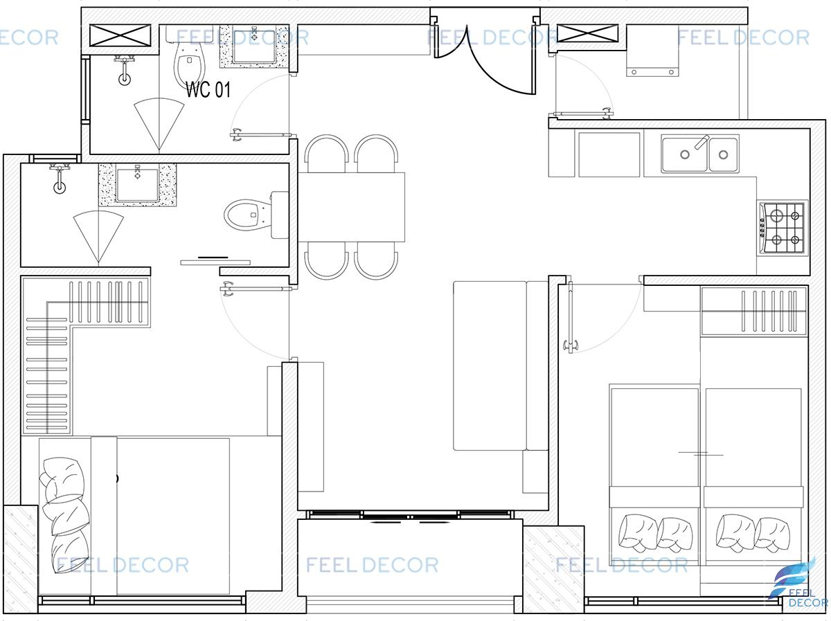 Thiết kế thi công nội thất căn hộ 55m2 chung cư New City Quận 2