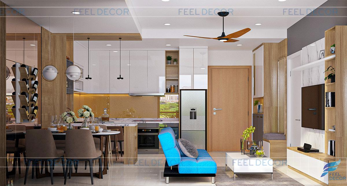 Thiết kế thi công nội thất căn hộ 60m2 chung cư Diamond Island – Chủ đầu tư anh Sơn