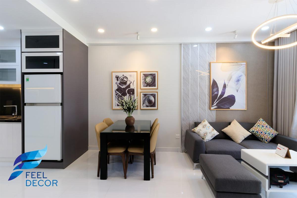 Thiết kế nội thất phòng khách - bếp căn hộ 66m2 Sunrise Riverside