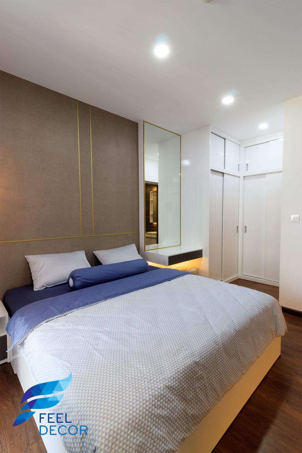 Ảnh thực tế thiết kế nội thất phòng ngủ Master căn hộ 66m2