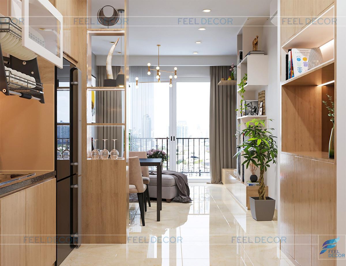 Thiết kế thi công nội thất căn hộ 69m2 2 phòng ngủ chung cư Golden Mansion – Chủ đầu tư anh Thảo