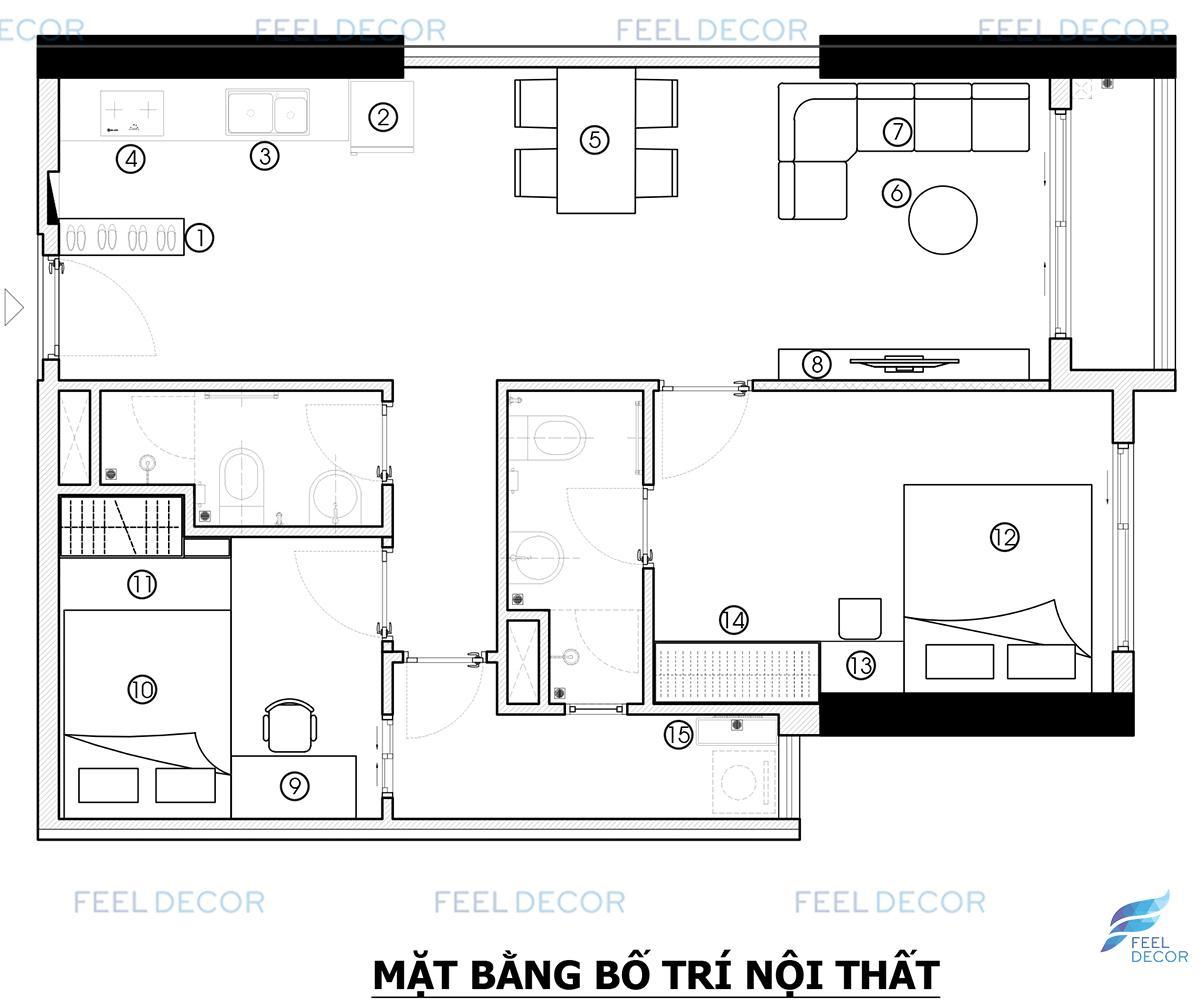 Thiết kế thi công nội thất căn hộ 69m2 chung cư The PegaSuite – Chủ đầu tư Anh Cảnh